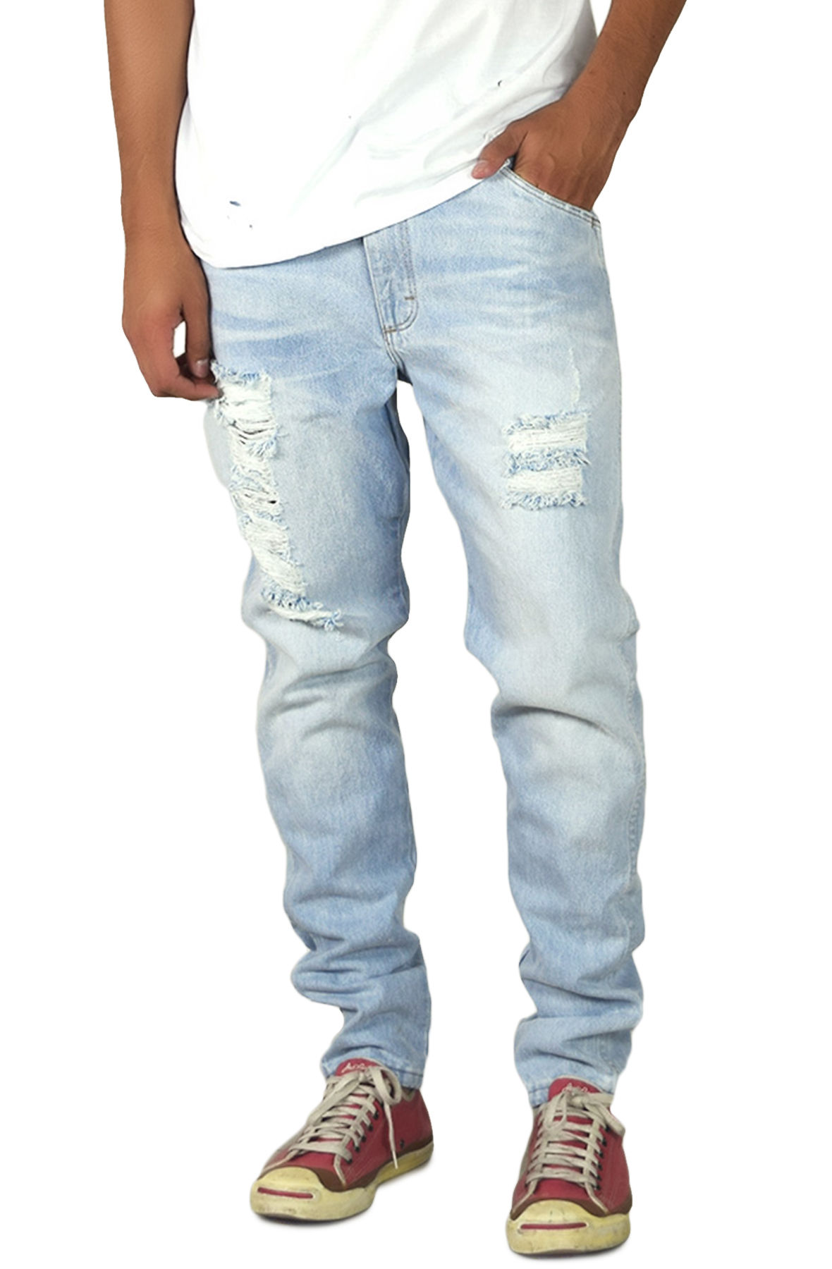 Image of The Light Stonewashed Ripped Tapered Denim Jeans in Light Blue