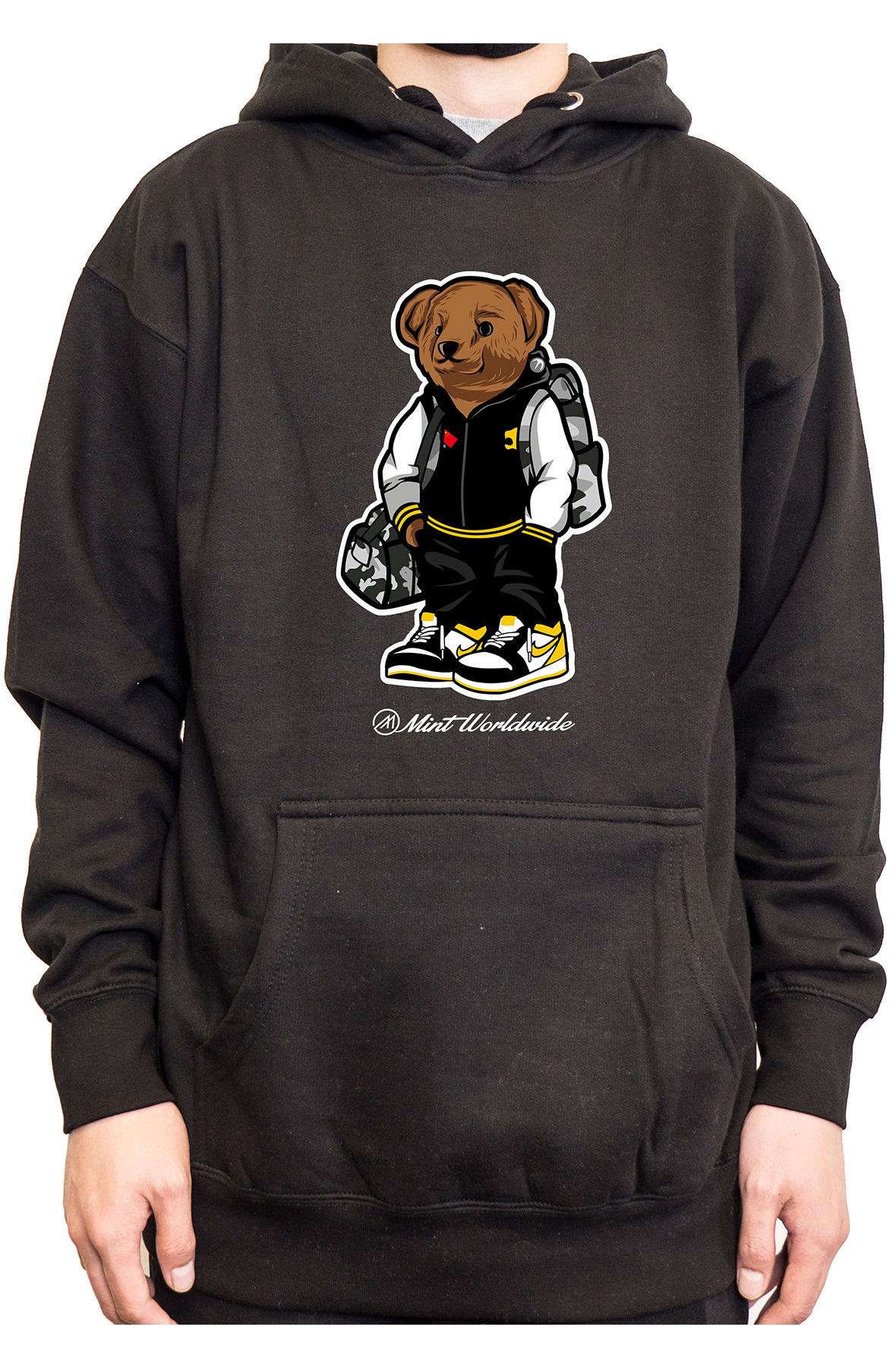 Mint Hoodie Bear Hoodie - Black