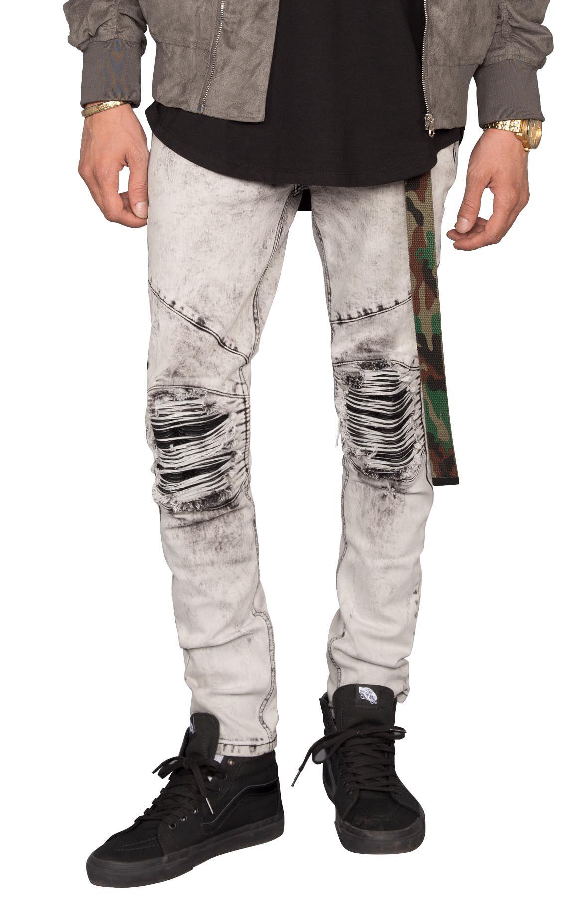Image of Acid Wash Moto Patch Jeans