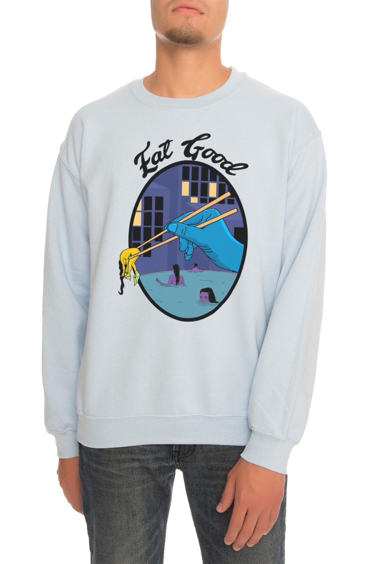 The Sushi Night Crewneck Sweatshirt in Light Blue