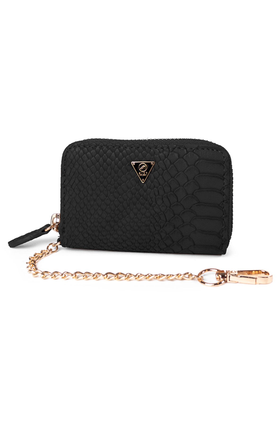 Image of Mint Anaconda Leather Pouch Black