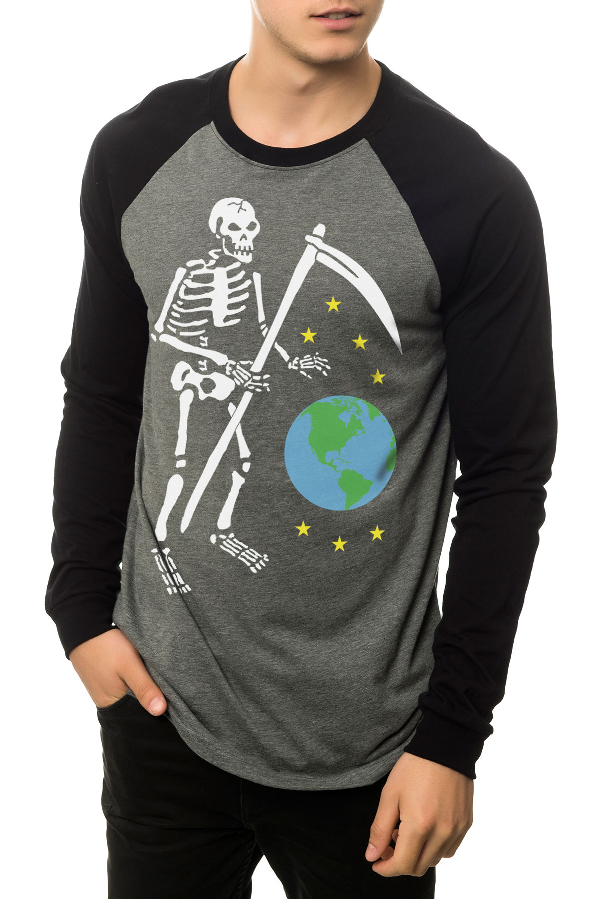 Image of The Death From Above Raglan in Heather Grey and Black