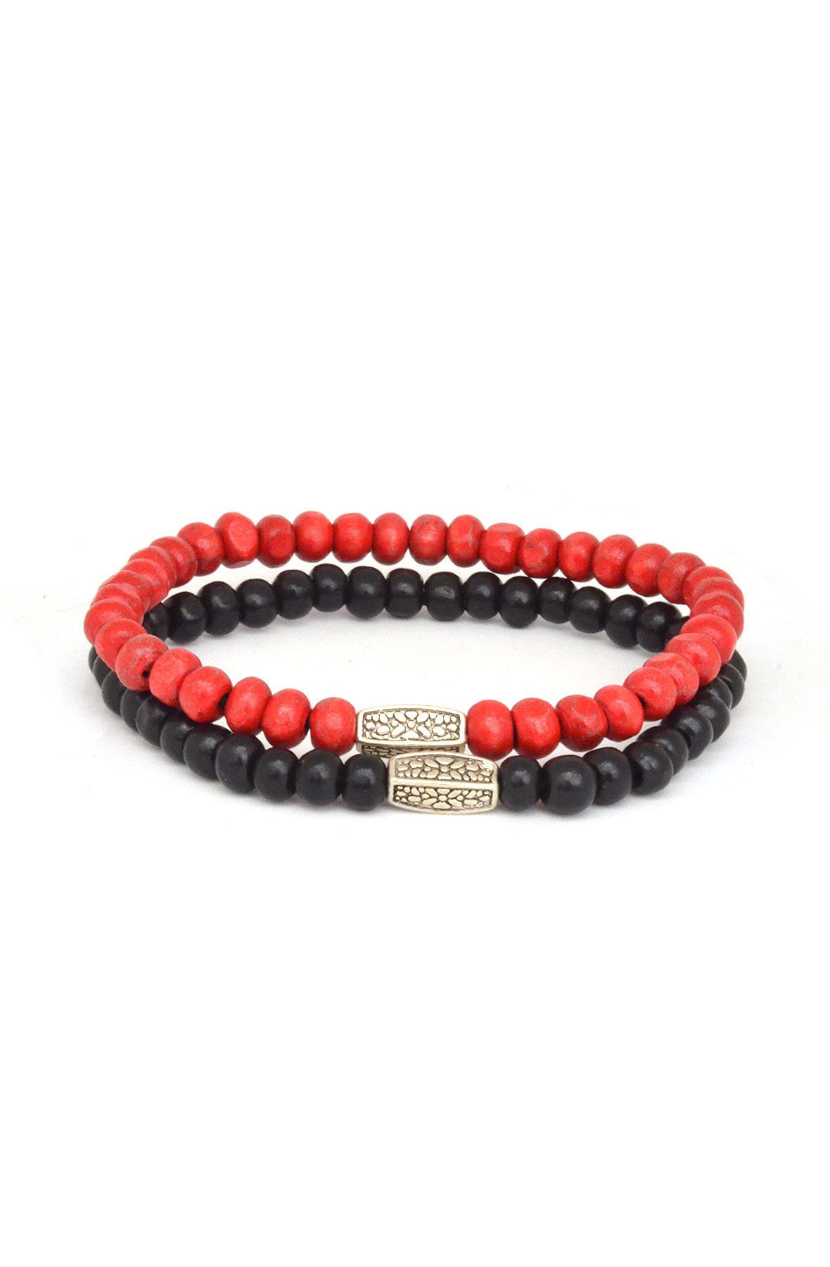 2 Pack Black and Red Mens Bracelet Set
