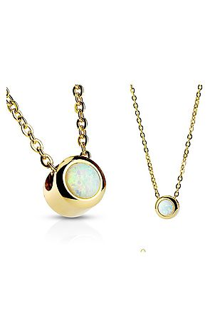 The Bezeled White Opal Necklace -  Gold