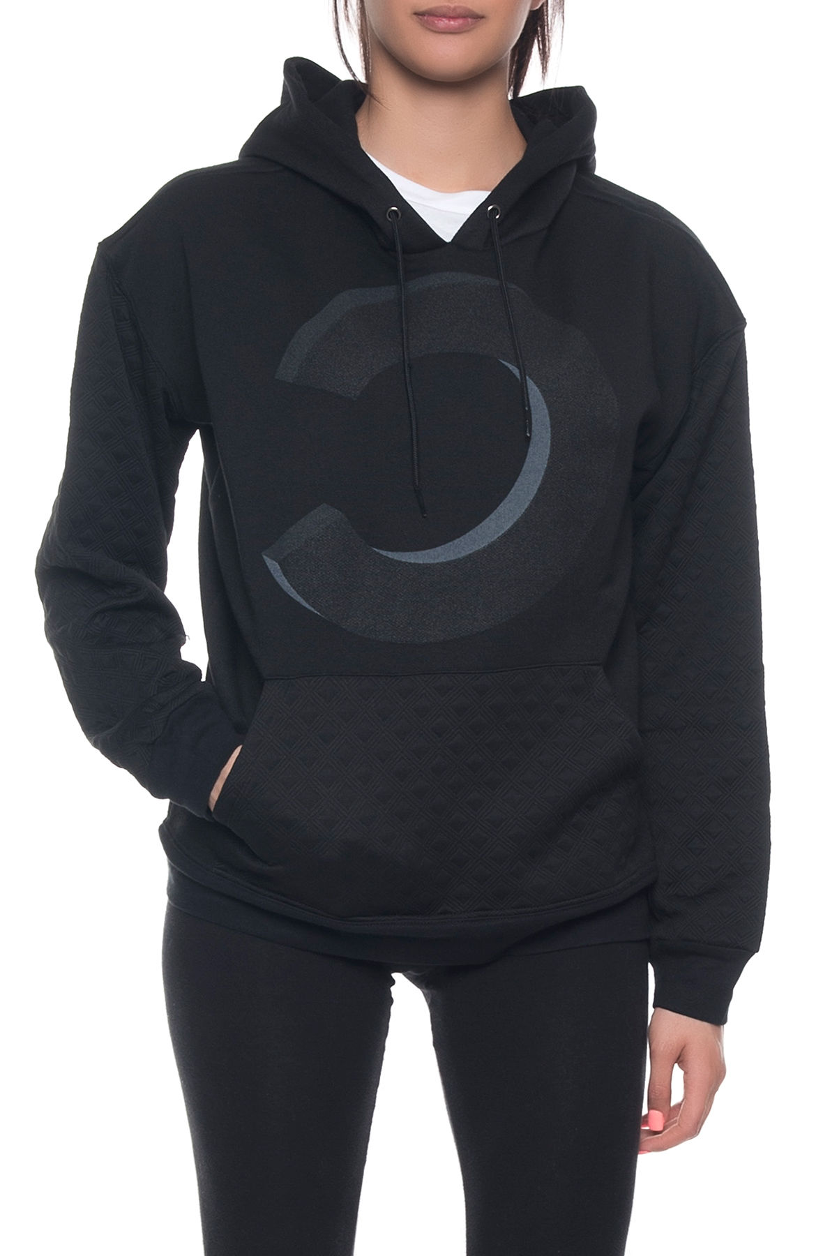 Image of The C Dimensional Quilted Hoodie in Black
