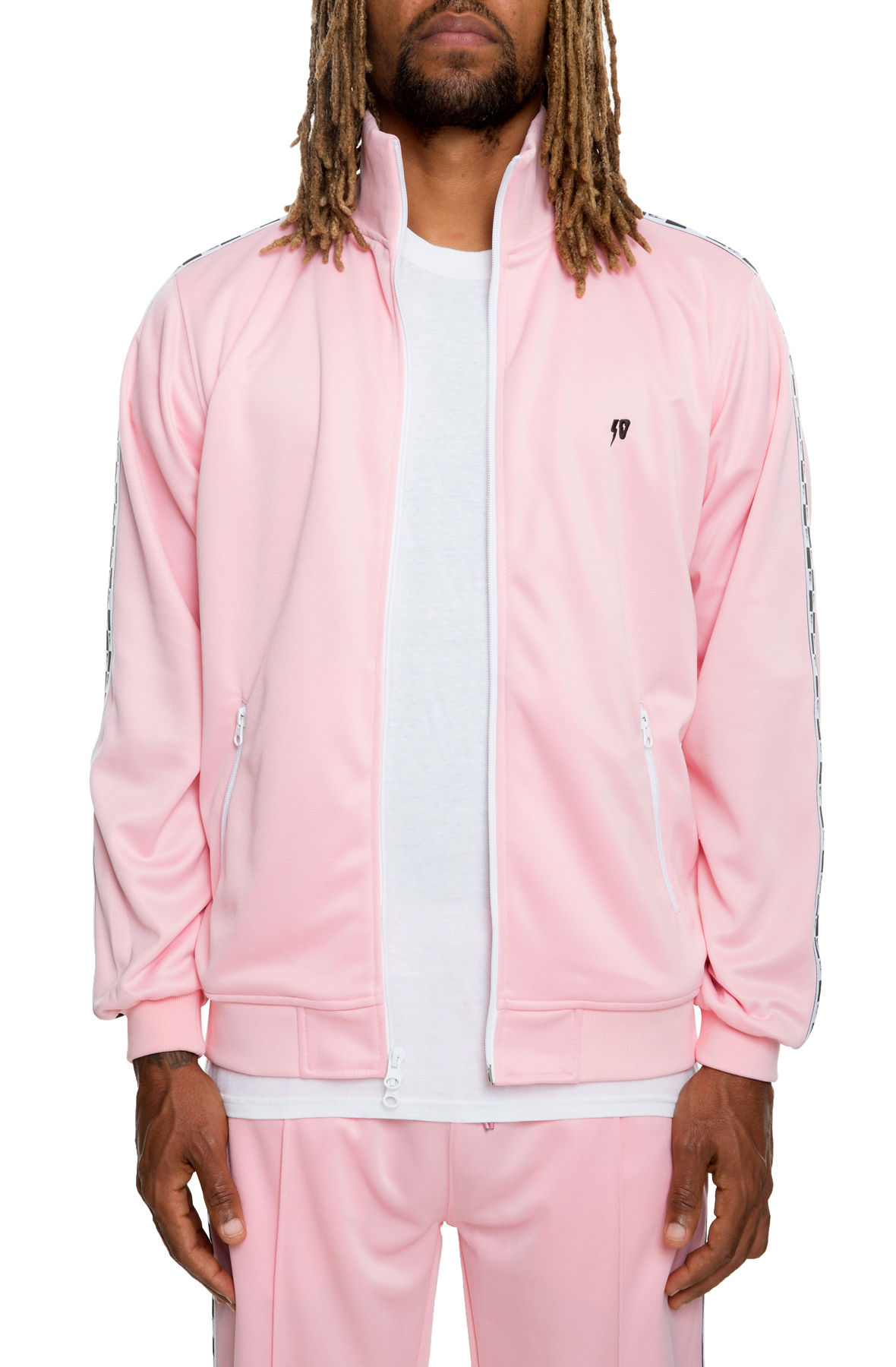 Image of 10 Deep XXX USA Checkered Flag Track Jacket in Pink