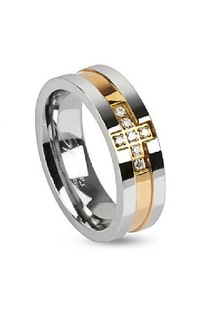 the two tone cross band ring - gold