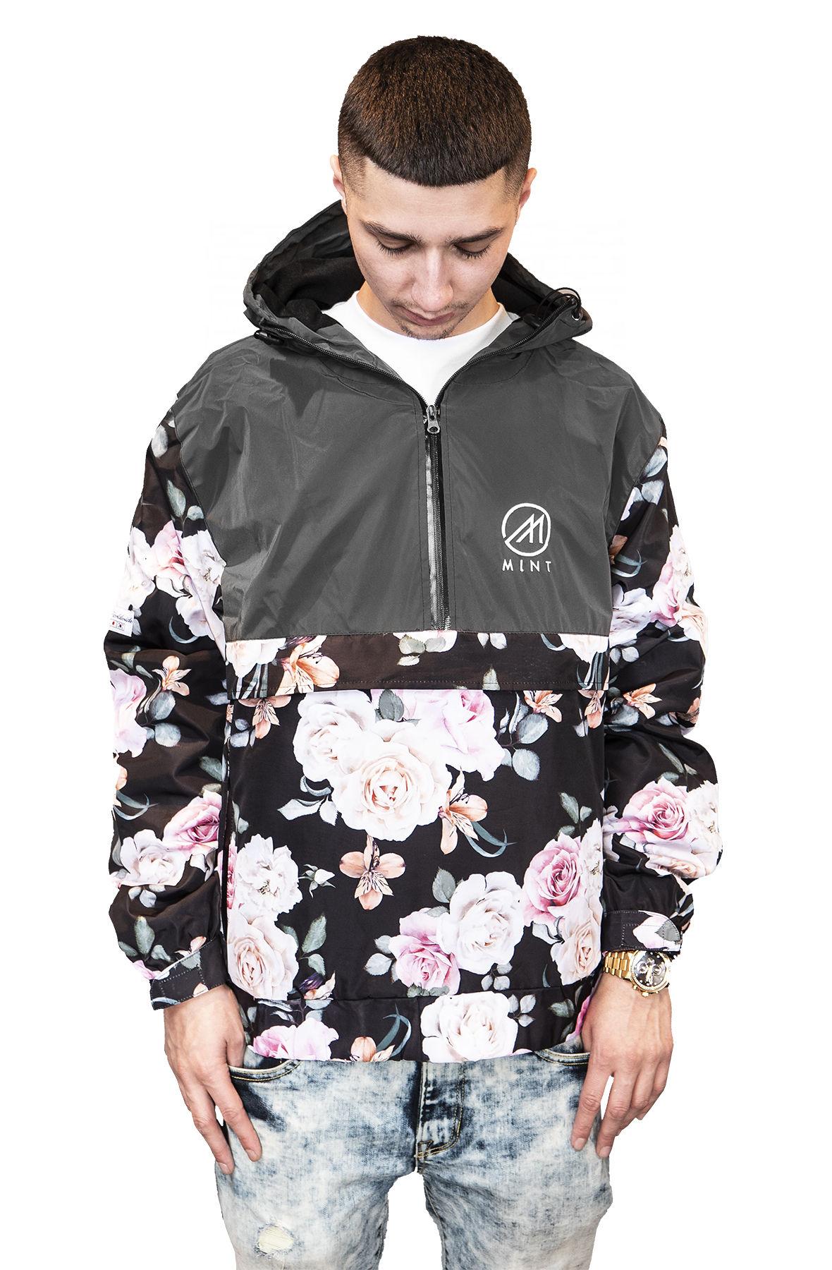 Image of Mint Windbreaker Anorak Floral Jacket Black