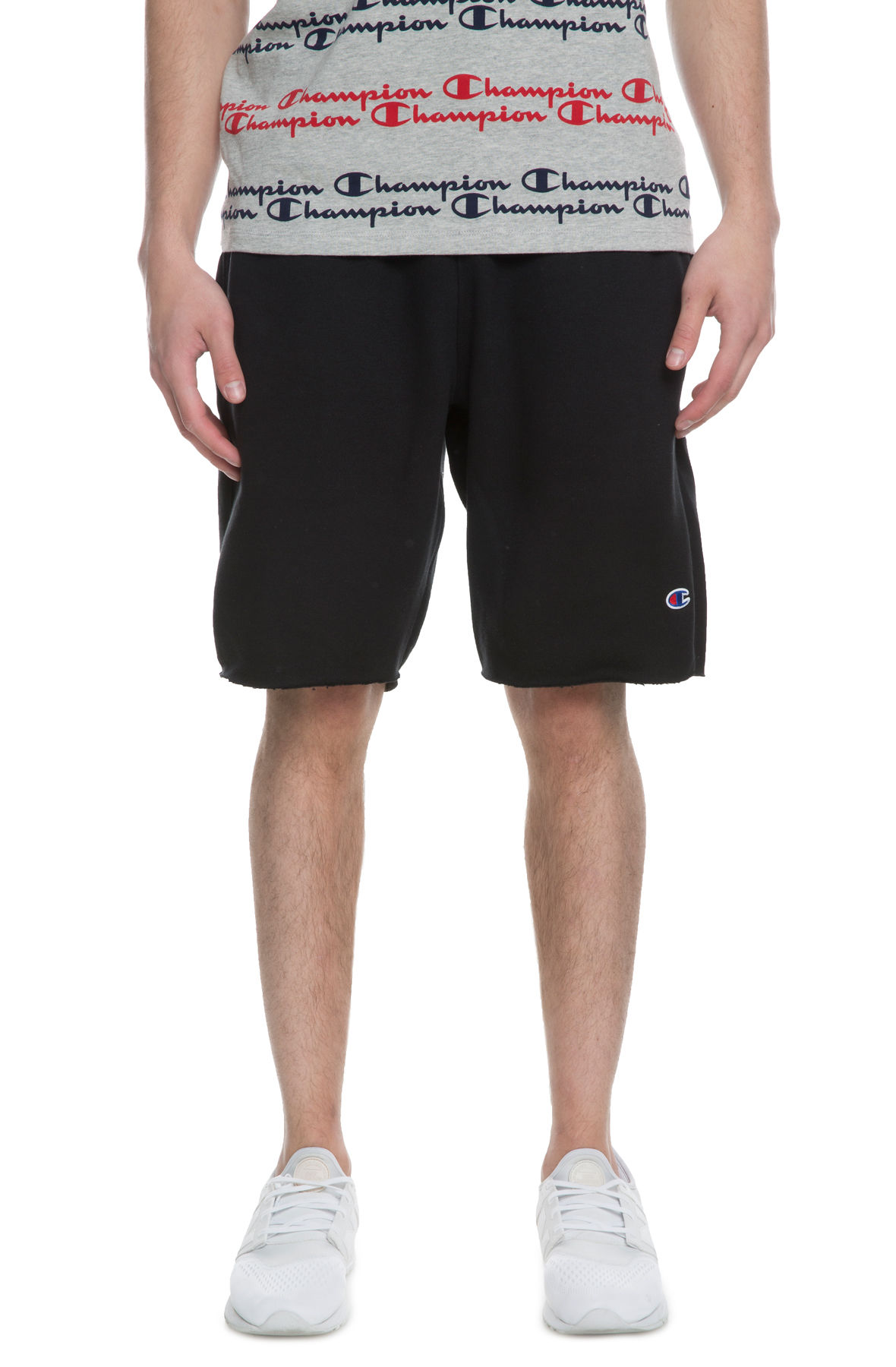 Image of The Reverse Weave Cut off Fleece short in Black