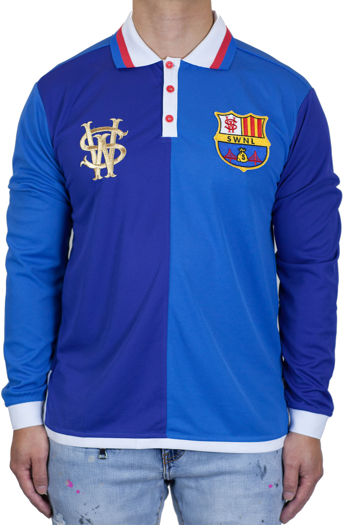 Image of Stay Winning Long Sleeve Royal Blue Soccer Polo Tee