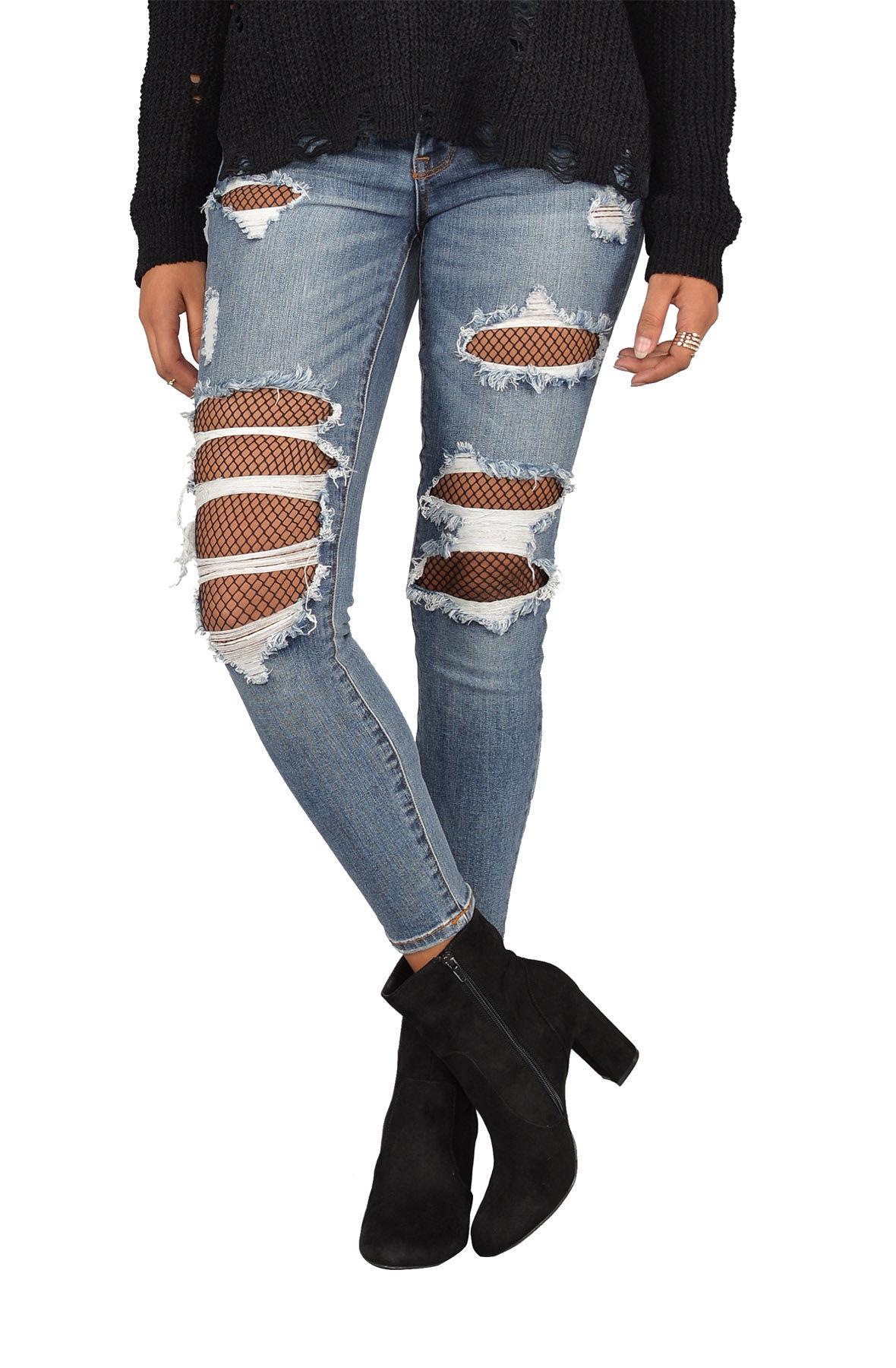 Image of Fishnet Crop Skinny Jeans
