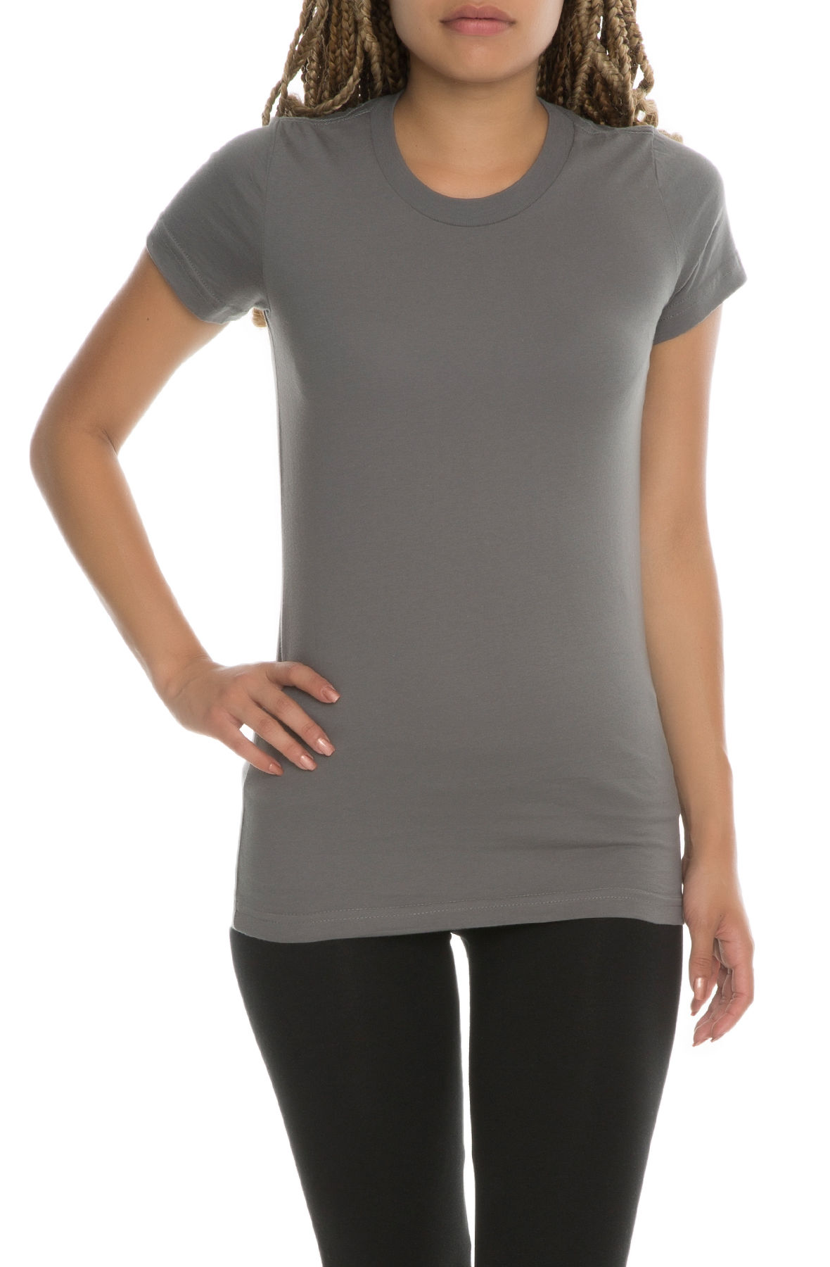 Image of The Debra Women's Basic Crew Neck Tee in Asphalt