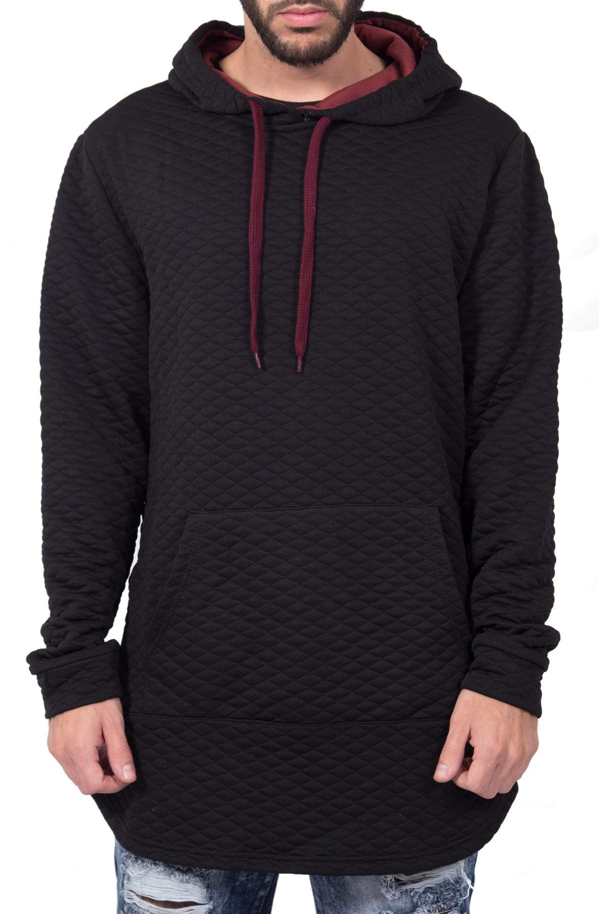 Image of Quilted Zipper Hoodie in Black