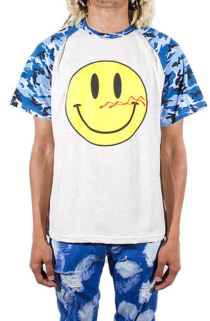 Image of Bloody Smiley T-shirts Camo Blue