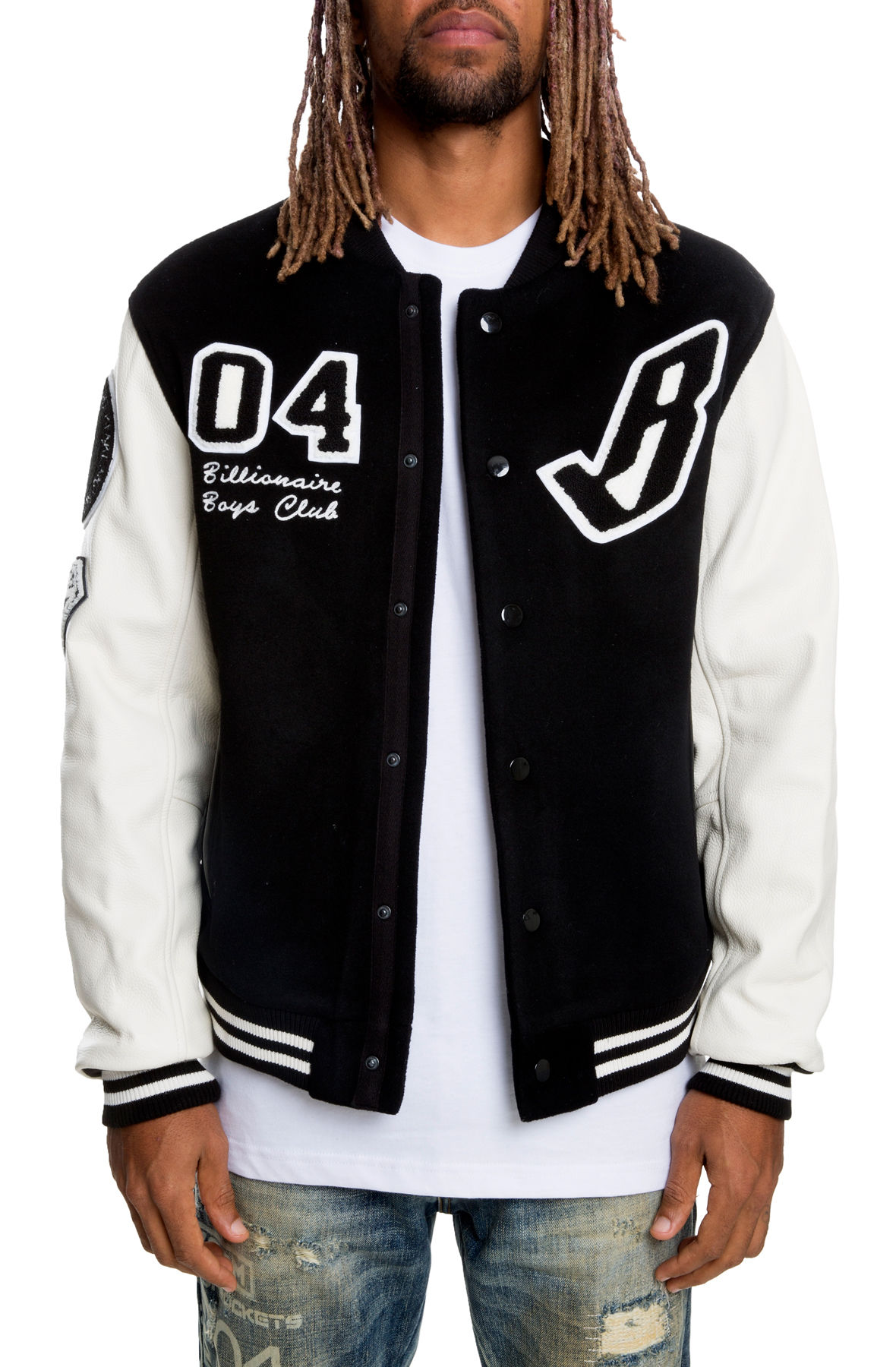 Image of The Letterman Varsity Jacket in Black and White