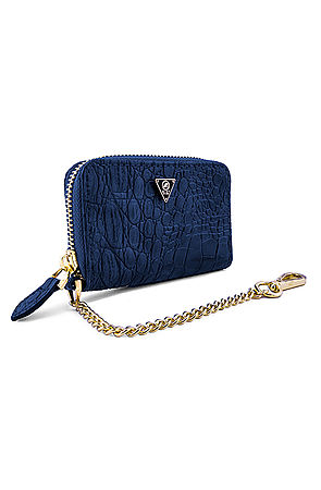 Image of Mint Navy Crocodile Zip Wallet