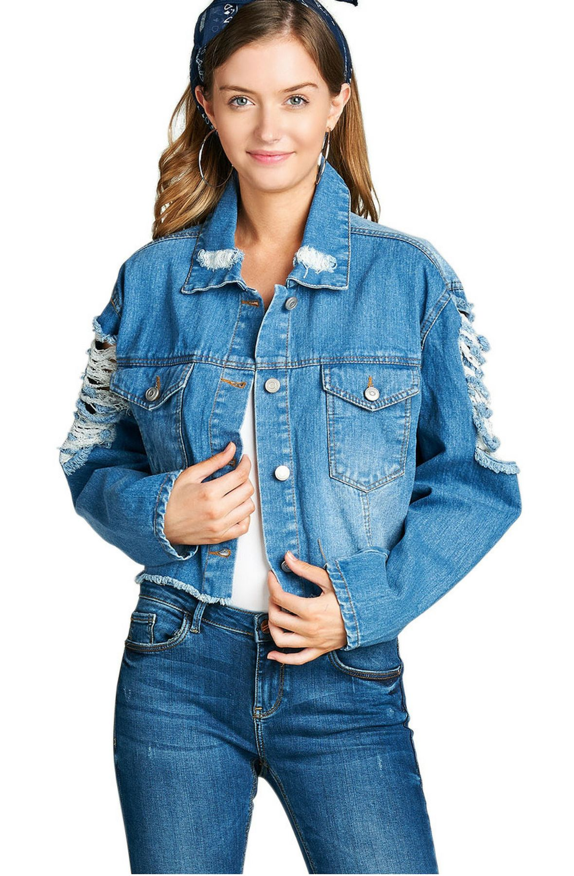 Image of Distressed Cropped Denim Jacket