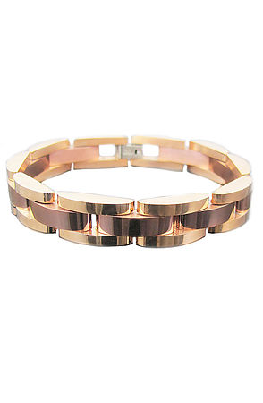 Image of The Polished Chocolate and 18k Rose Gold Plated Stainless Steel Semi Circle Link Bracelet