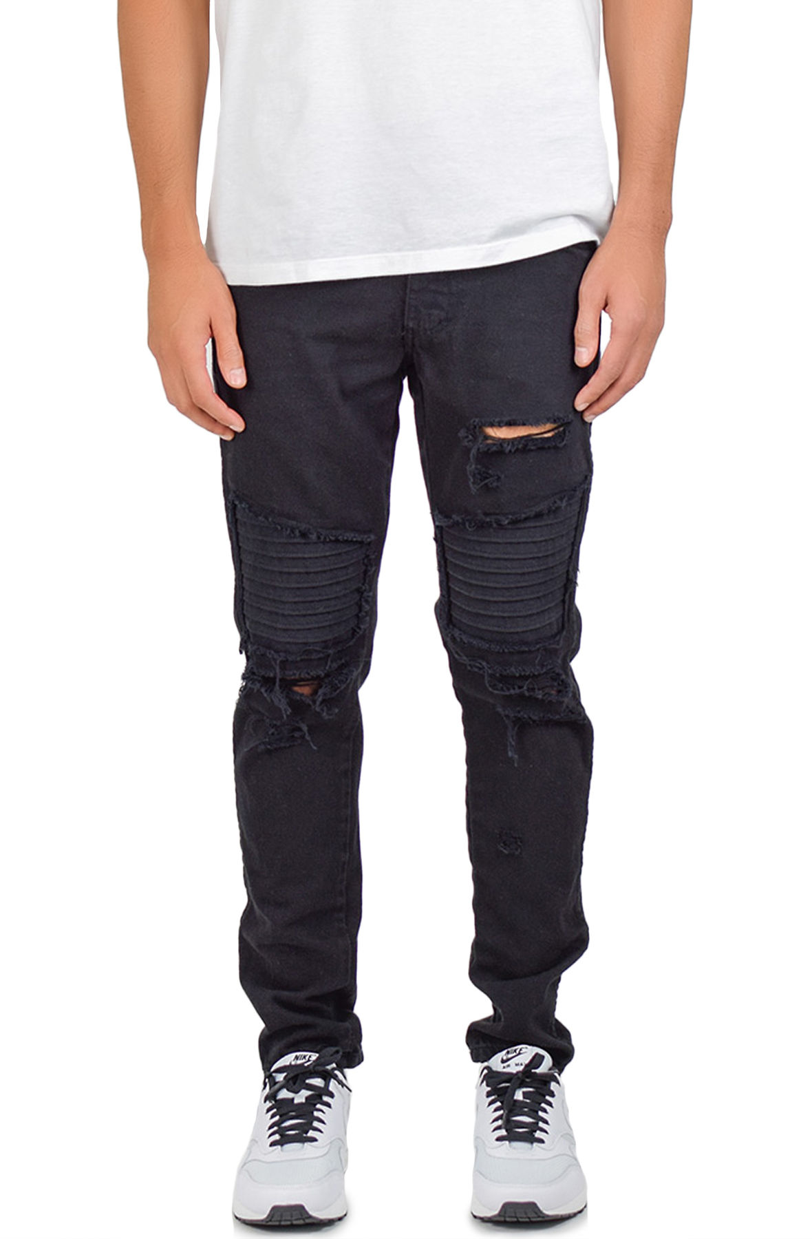 Image of The Ripped Patched Moto Jeans in Black