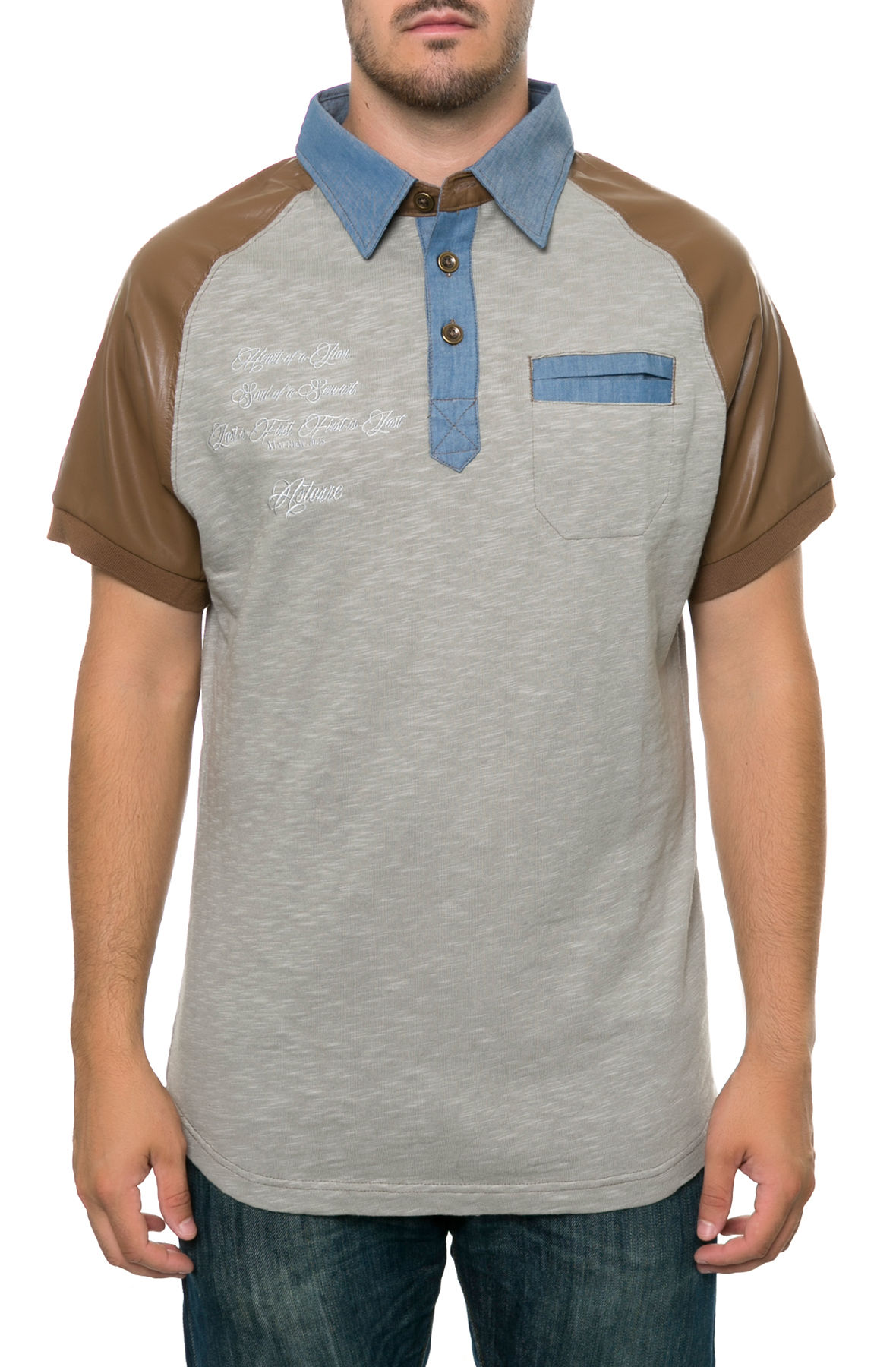 heart of a lion; soul of a servant  polo - grey/brown