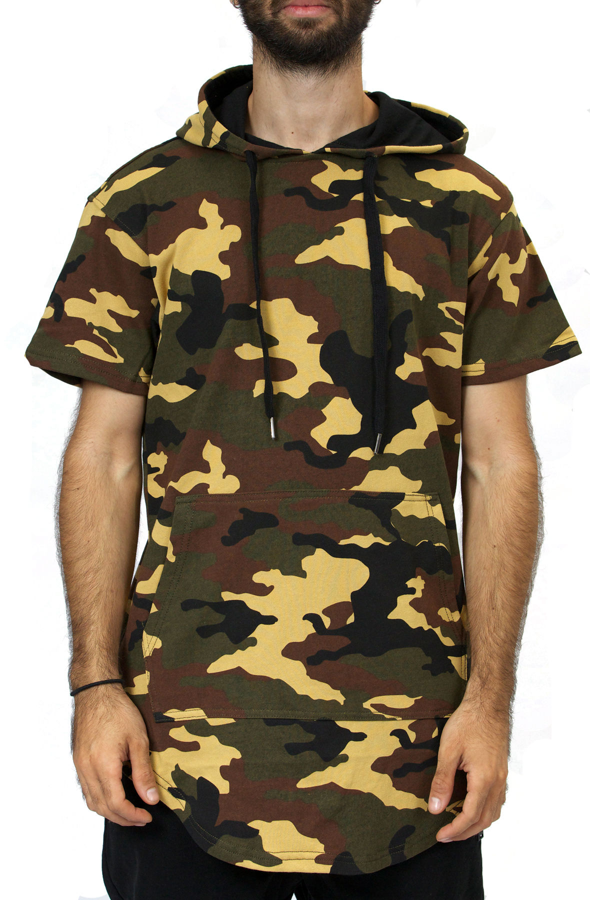 Image of Elongated Hoodie in Camo / Short Sleeve