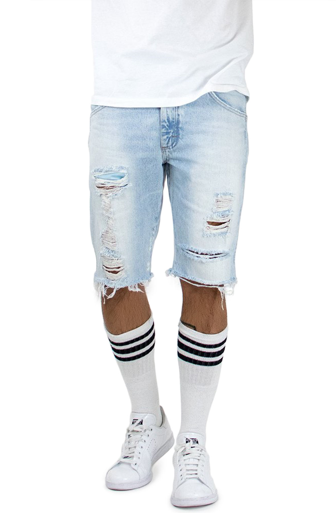 Image of The Light Stonewashed Ripped Jean Shorts in Blue