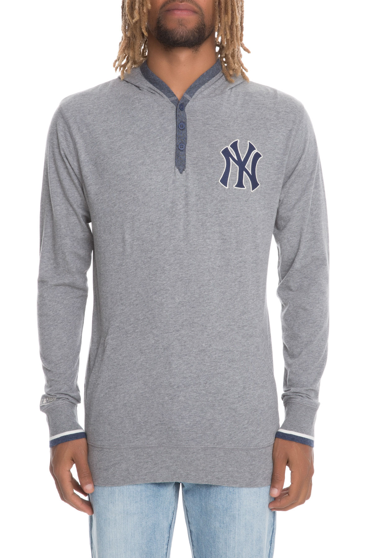 reputable site b9814 37814 The New York Yankees Seal The Win Hooded longsleeve in Grey Heather