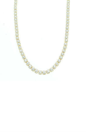 Image of ICED OUT SOLITAIRE GOLD TENNIS CHAIN