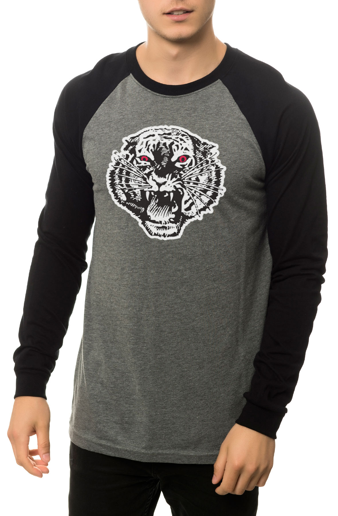 Image of The Mascot Raglan in Heather Grey and Black (Black Sleeves)