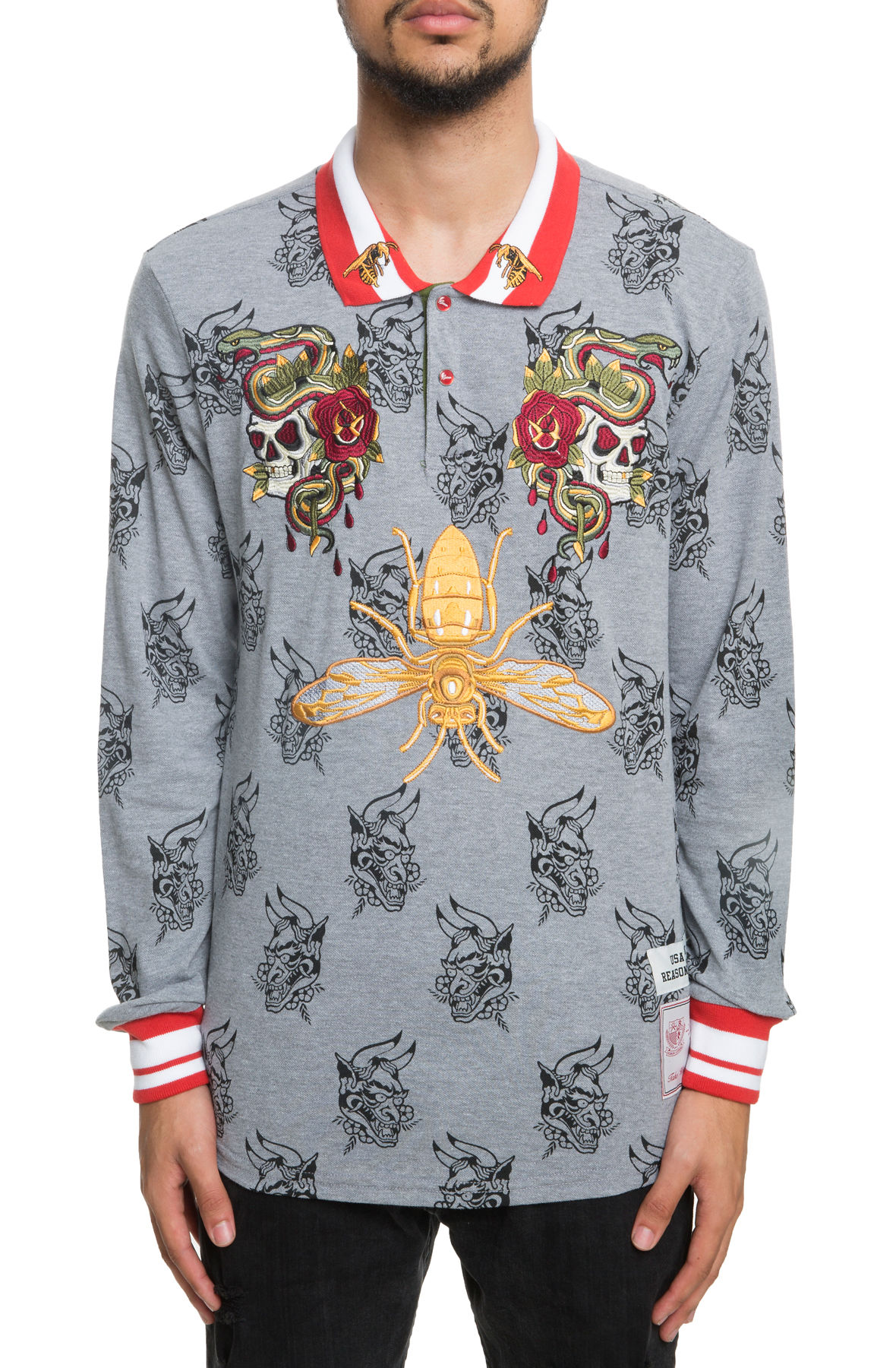 Image of The Snake and Skull Rugby Long Sleeve Polo in Heather Grey