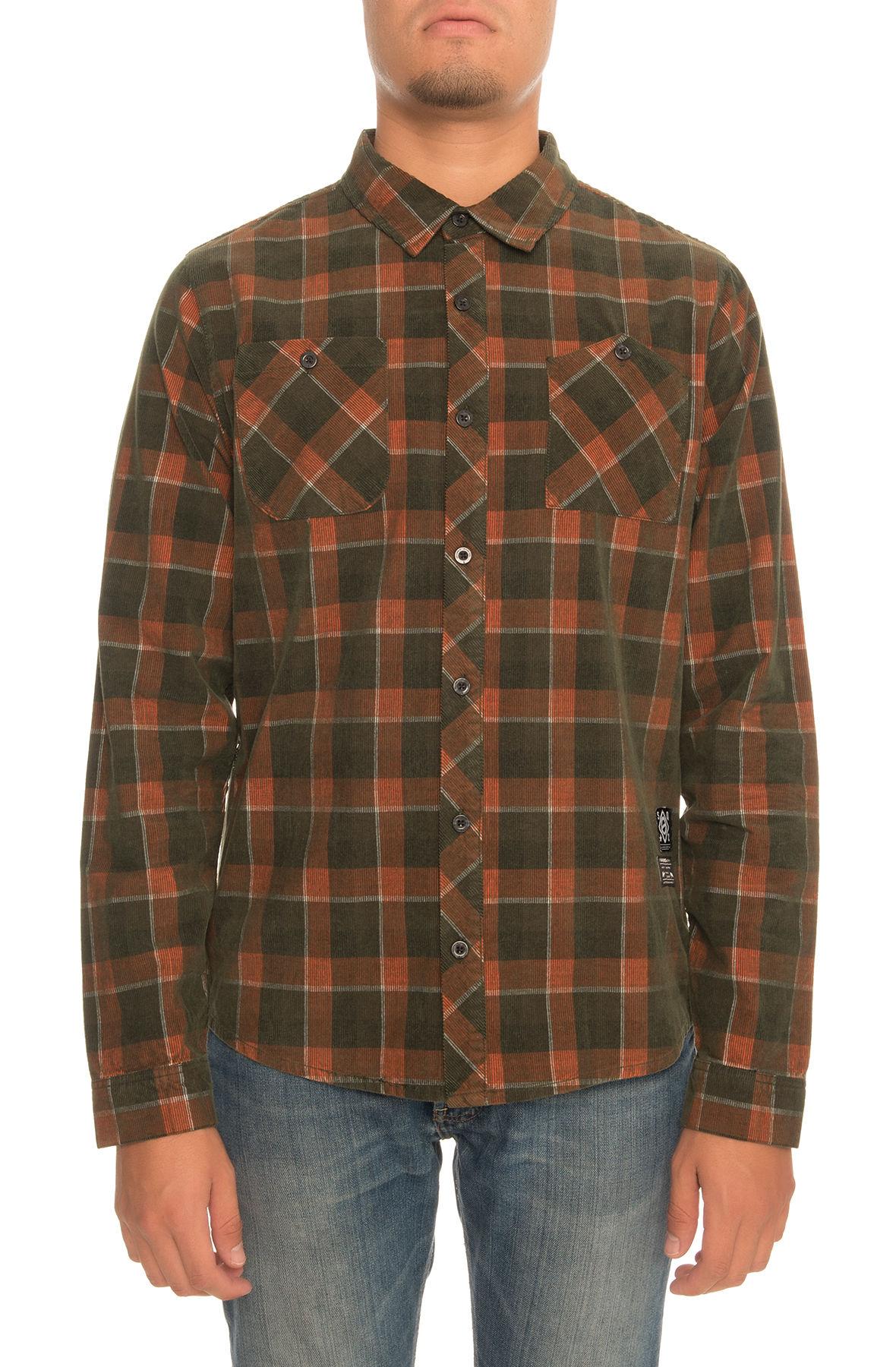 Image of SquareZero Premium Plaid Corduroy Long Sleeve Button Down Shirt in Olive & Burnt Orange Colorway