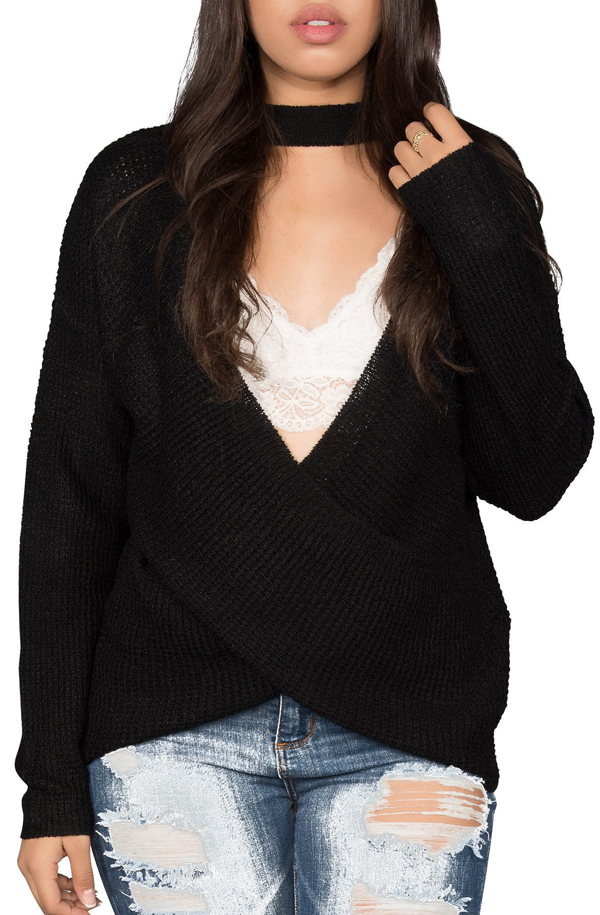 Image of Choker Neck Waffle Cross Over Sweater in Black