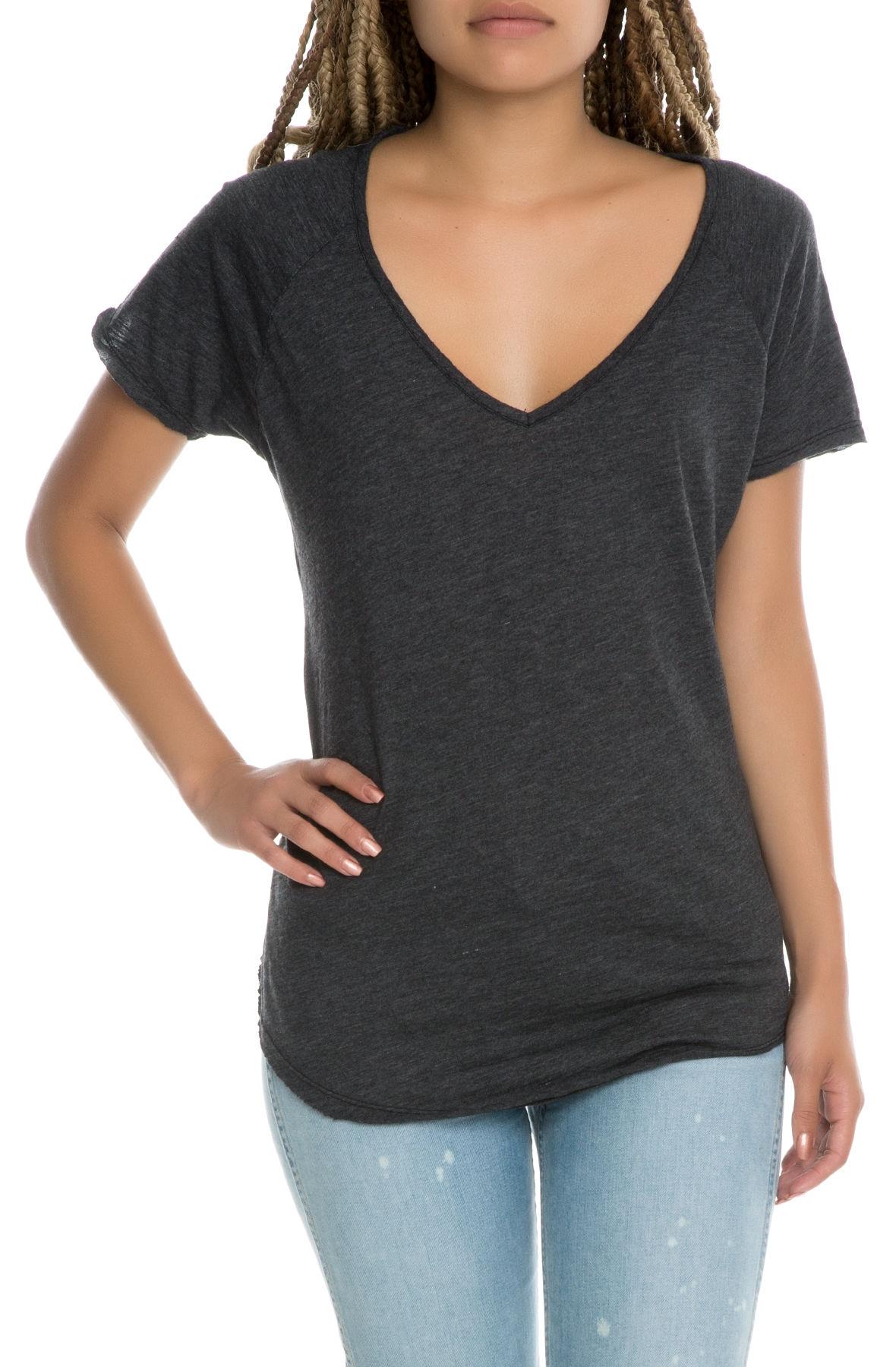 the women's slub v-neck tee in black