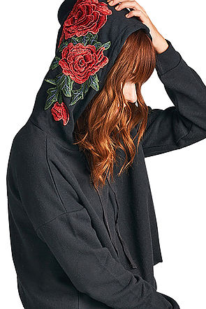 Image of Floral Patch Hoodie (Black)
