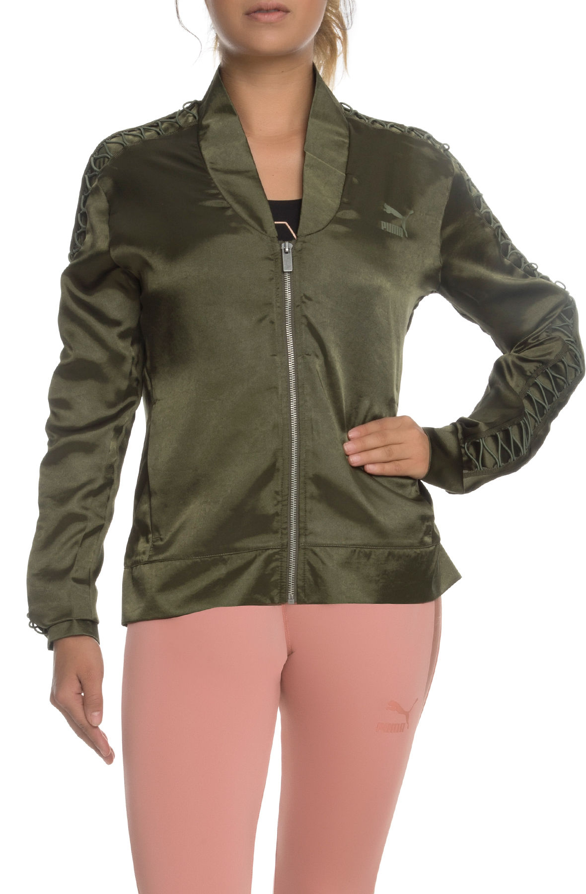 Image of The Satin Lux T7 Jacket in Olive Night