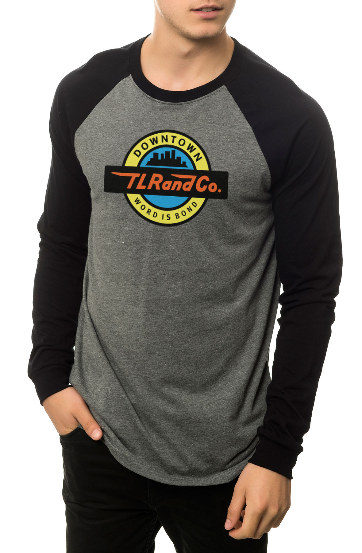Image of The Train Logo Raglan in Heather Grey and Black (Black Sleeves)
