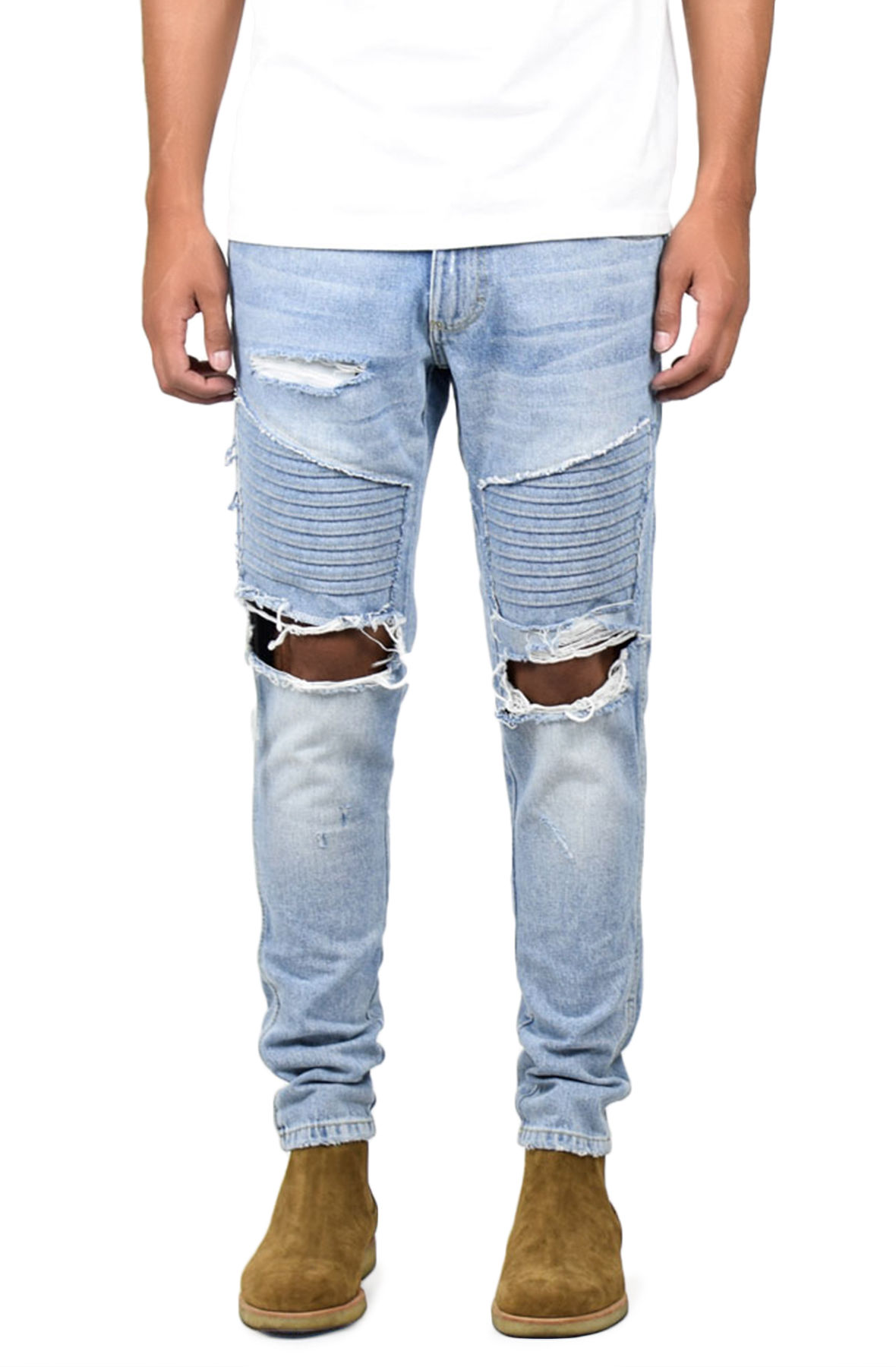 Image of The Vintage Denim Jeans Ripped Patched Biker Jeans in Vintage Indigo