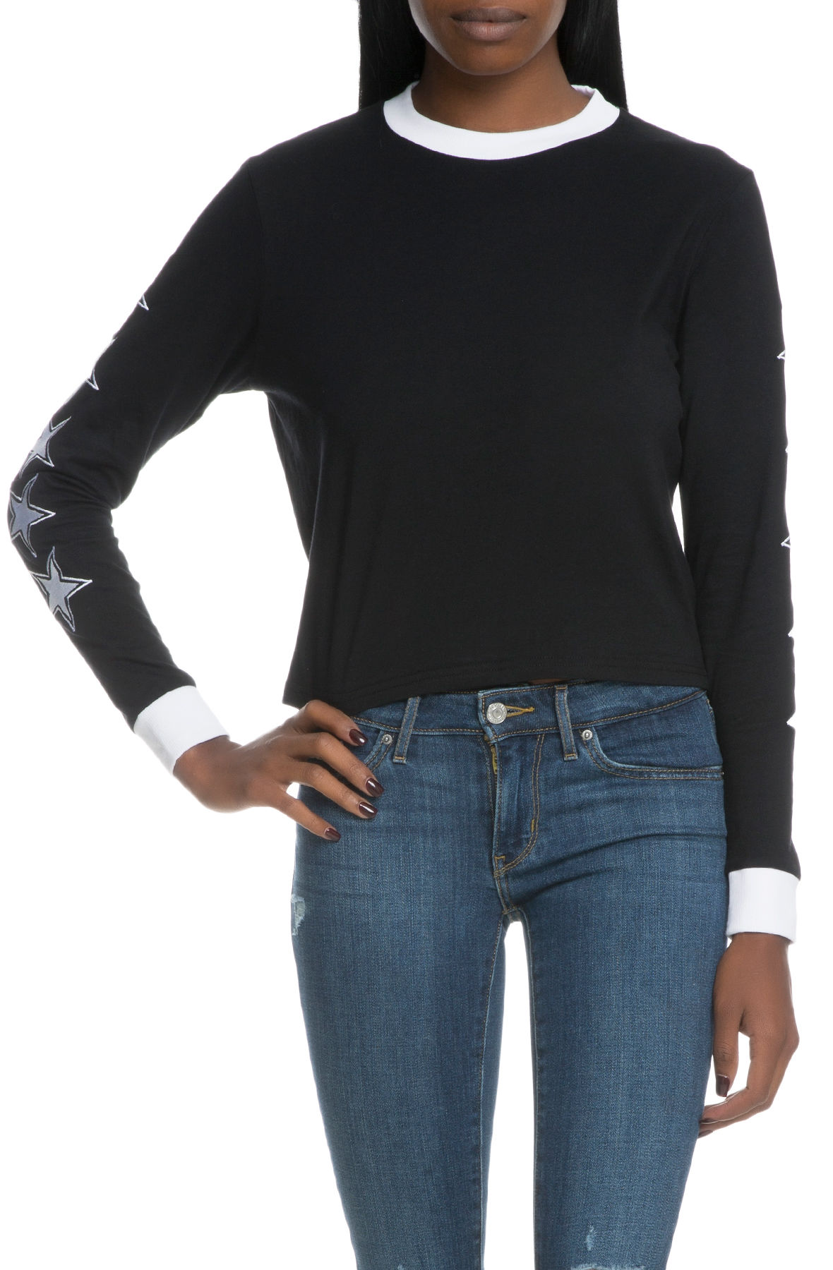 Image of The Stars Align Long Sleeve T-Shirt With Contrast Rib & Star Sleeve Embroidery in Black