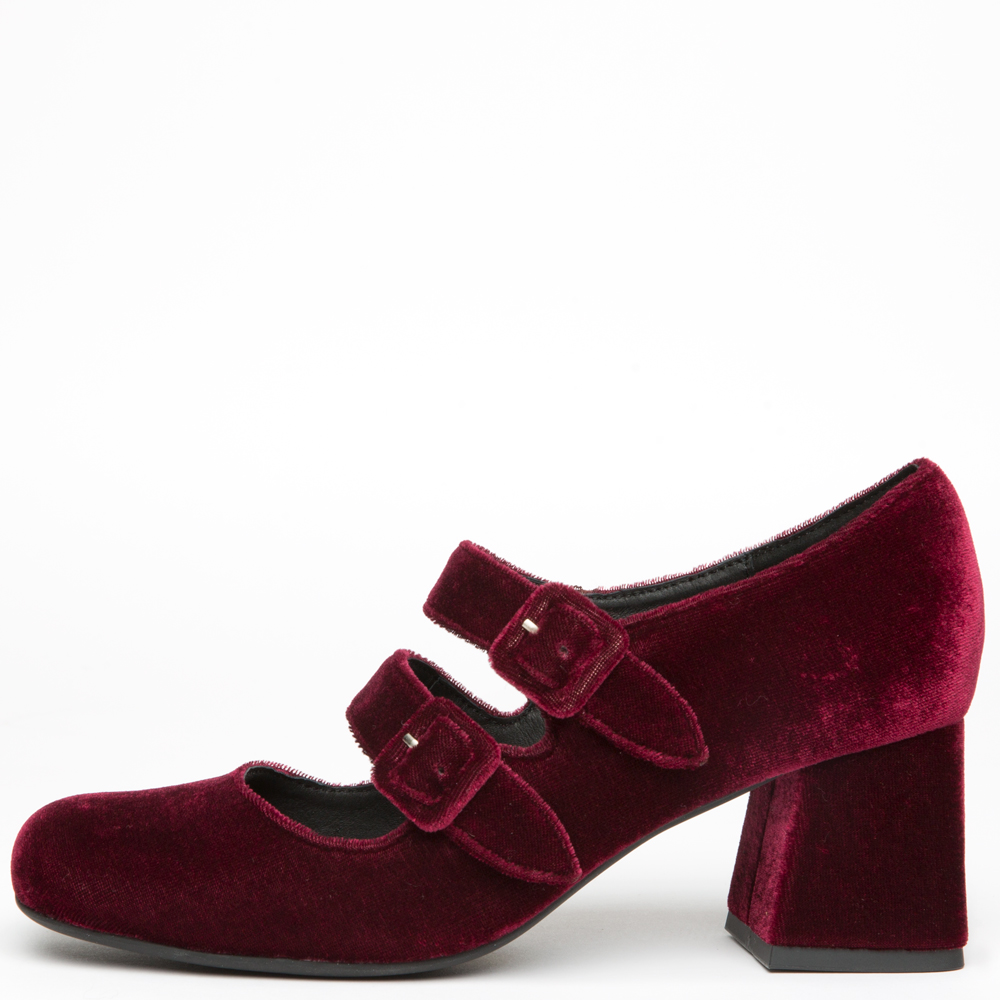Bickle Wine Velvet Heels