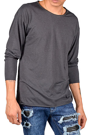 The Raw Hem Long Sleeve in Charcoal