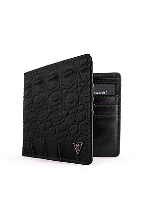 Image of Mint Black Crocodile Bifold Wallet