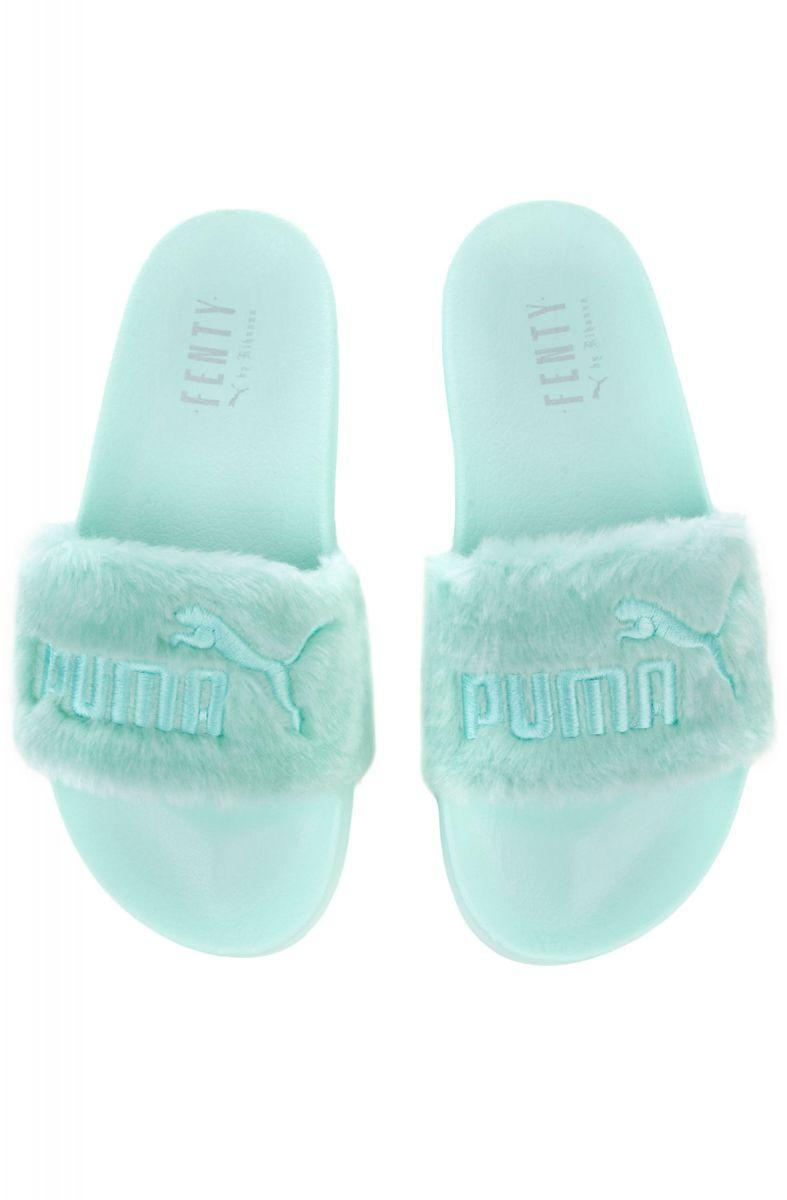 best cheap 30486 f8c5a The Puma x Fenty Fur Slides in Bay and Puma Silver