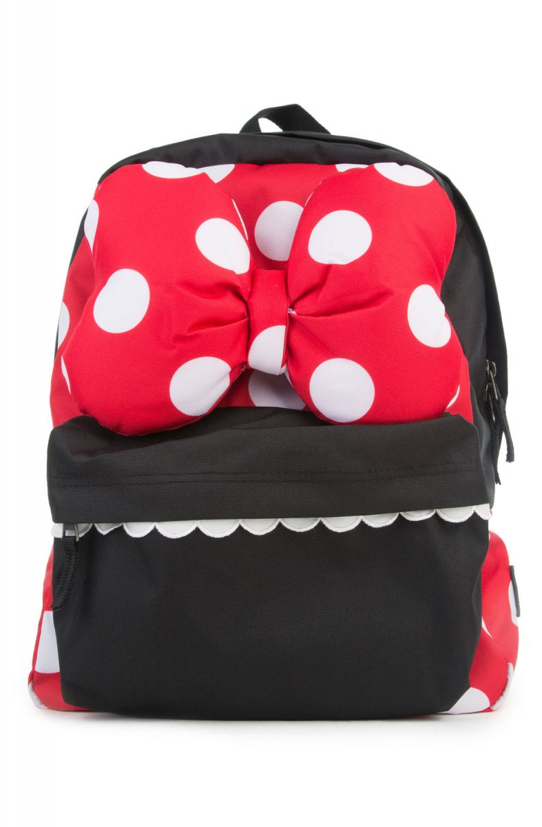 the minnie realm backpack in black and red polka dot print