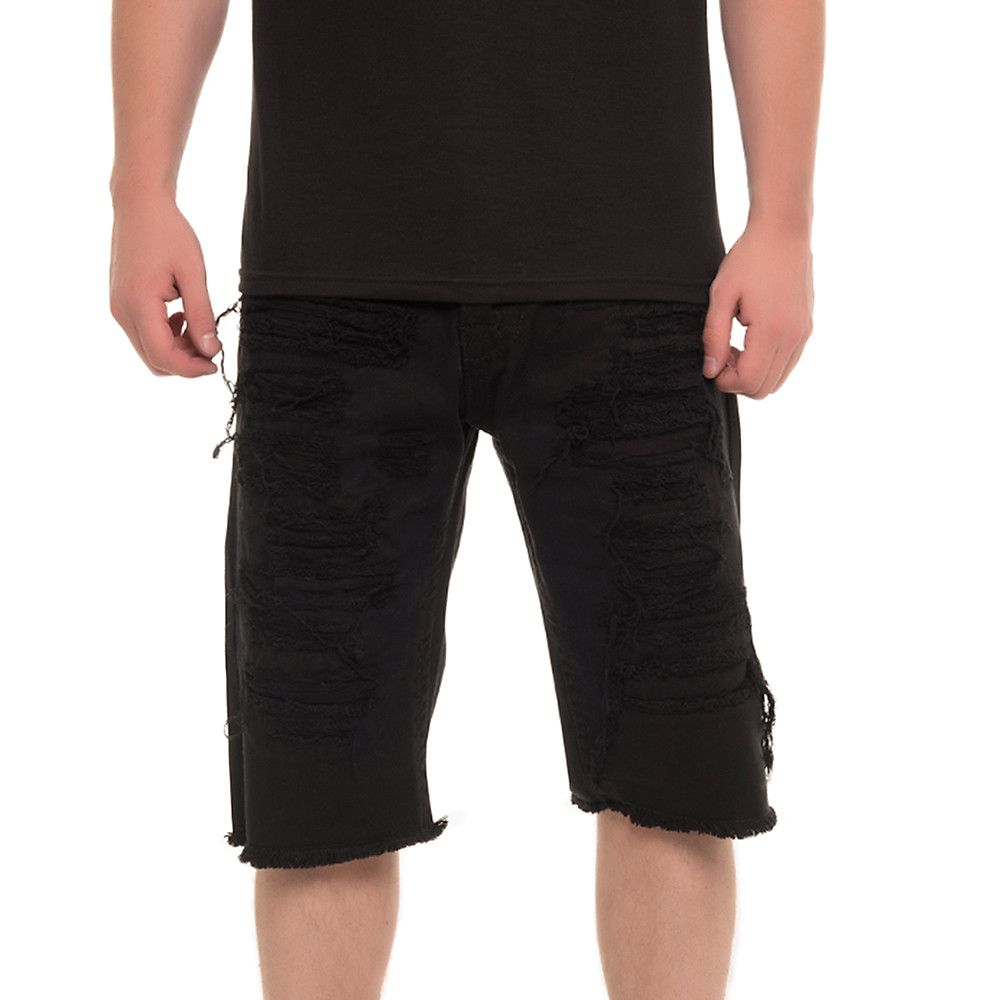 black ripped shorts mens