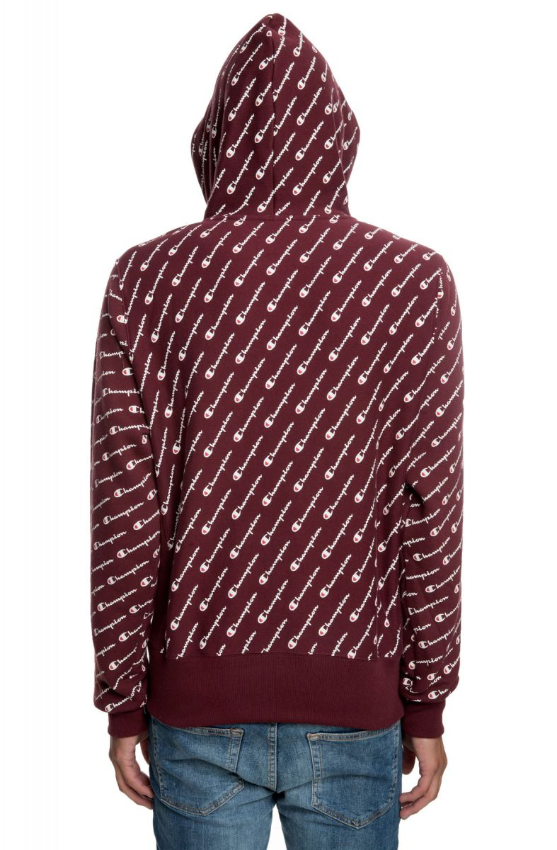 914d27c929a7 ... The Reverse Weave All Over Print Pullover Hoodie in Diagonal Script  Maroon