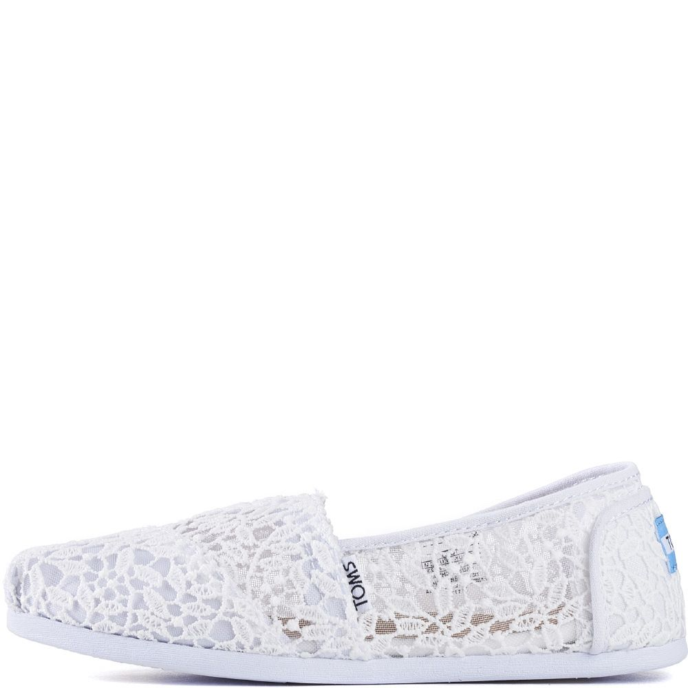 37da0e9e Toms for Women: Classic White Lace Leaves Flats