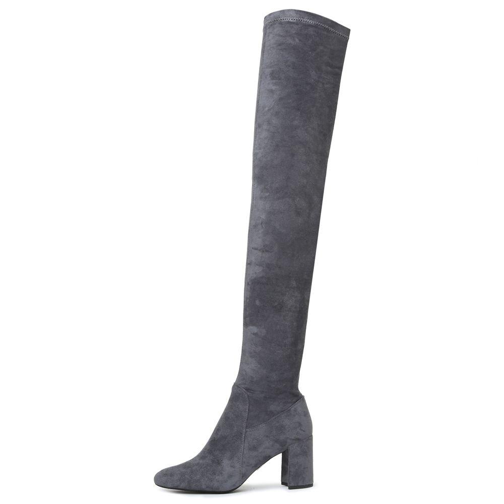 0389284b901 Jeffrey Campbell for Women  Cienega Dark Gray Suede Heeled Thigh ...