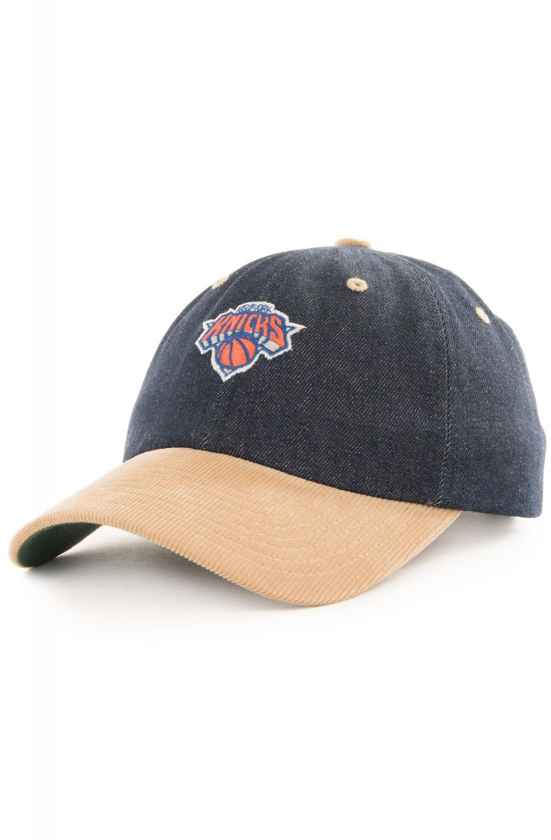 4ba81ca444754 Mitchell   Ness Hat New York Knicks Corduroy Denim Dad Blue