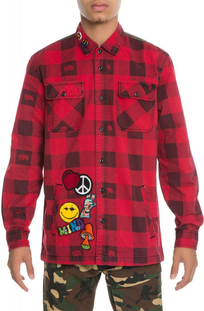 e633ad31 Billionaire Boys Club Shirt BB Ruckus Buffalo Plaid print Long Sleeve Red