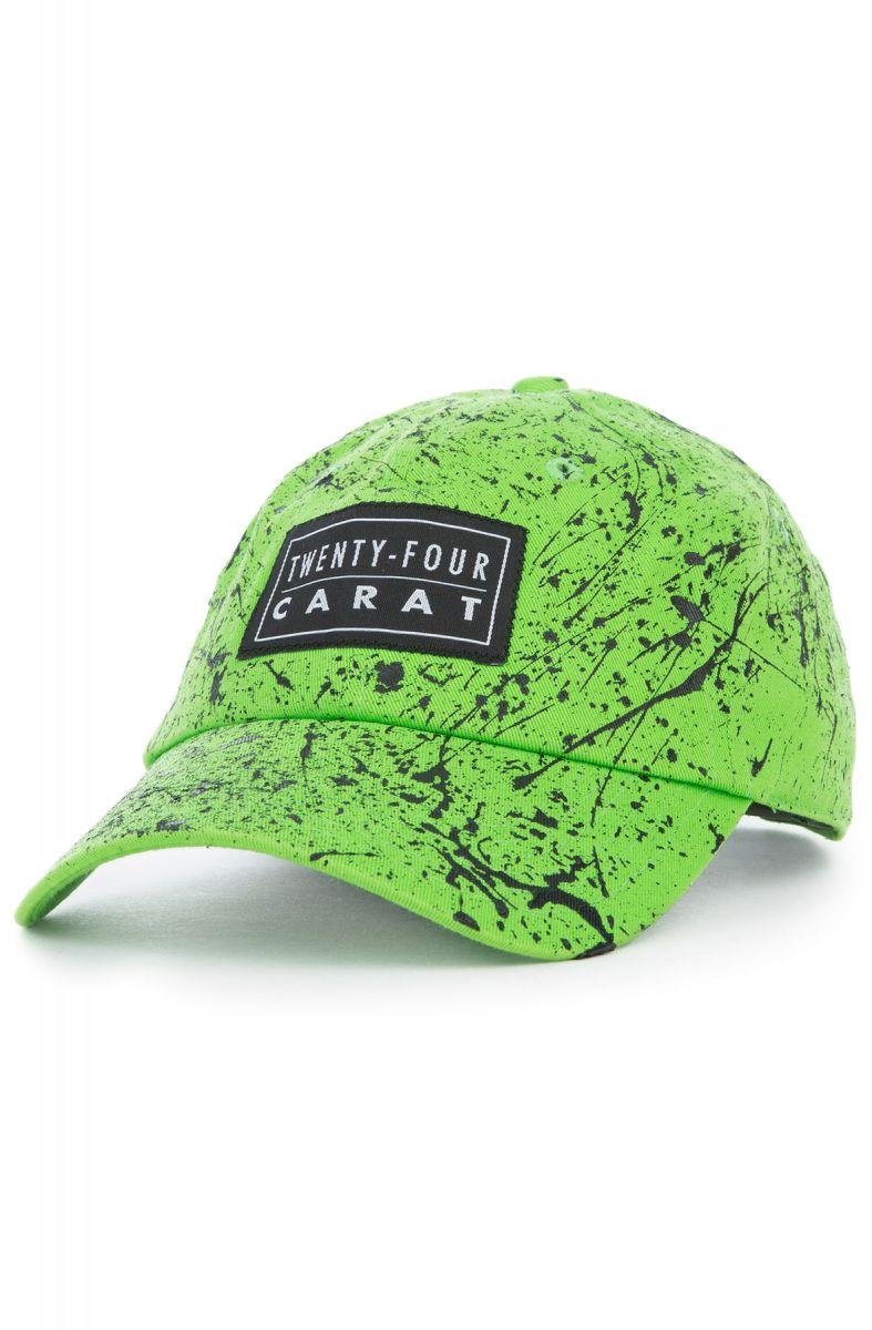 eda8d9a6711234 Twenty-Four Carat Dad Cap Neon Green Black Paint Green